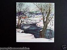 Vintage Unused Red Farm Ellen Xmas Greeting Card Pretty Winter Village & Lake