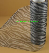 "6"" ZEBRA Print Organza Roll 10 Yards Black & White"