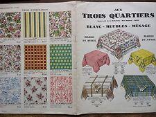 """CATALOGUE MODE """" AUX TROIS QUARTIERS """" BLANC - MEUBLES - MENAGE 1921"""
