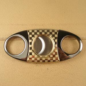Fine Gold Pleated Lattice Pattern Stainless Steel Cigar Cutters Scissors WX34