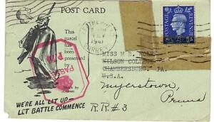 """UK GB 1941 WWII """"WE ARE ALL LIT UP LET BATTLE COMMENCE"""" SMALL POST CARD REPAIRED"""