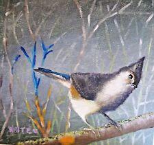 ORIGINAL PAINTING TUFTED TITMOUSE BIRD ACRYLIC ON CANVAS