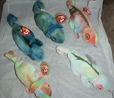 Lot of 5 TY Beanie Babies Retired - Iggy / Rainbow Mislabeled