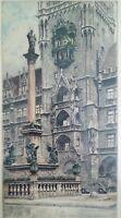 """Vintage Etching by Rudolf Veit """"Munich Cathedral"""" """" 13""""×21"""""""