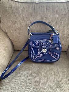 Coach Legacy Willis Blue Patent Leather Satchel Crossbody Turnlock Bag 21244