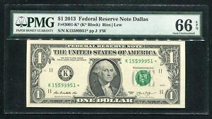 FR. 3001-K* 2013 $1 *STAR* FRN FEDERAL RESERVE NOTE DALLAS, TX PMG GEM UNC-66EPQ