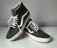 VANS Mens Sk8-Hi Soft Tweed Leather Canvas Grey Mens Skate Shoes Trainers UK 8.5