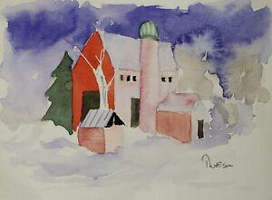 5 x 7 Watercolor painting - Winter Barn