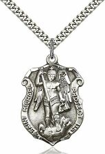 .925 Sterling Silver Saint St. Michael Shield Medal Pendant Police Necklace
