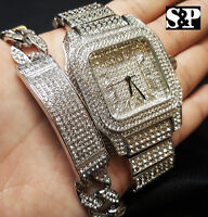 Men Hip Hop Iced Out Bling Simulated Diamond Luxury WATCH & BRACELET Gift Set