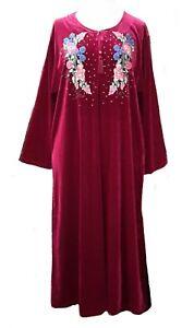 15101 Ladies' knitted  Velvet multi  colour embroidery floral long kaftan (L)