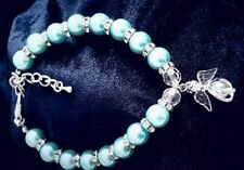 Dog Cat Bling Crystal Aqua Pearl Party necklace collar with Angel charm