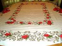 Vintage Tablecloth Red Roses Gold Vines 52 x 63 Gorgeous