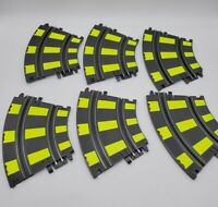 Vintage ARTIN 1/43 Slot Car Track 2 Lane Curve Track 6 PIECES Yellow Lined