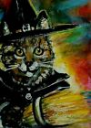 ORIGINAL ACEO Painting WITCH Tabby KITTEN Halloween CAT Rainbow Kasheta ATC ART