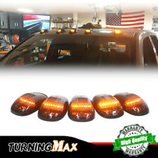 5PCS Smoked Cab Roof Mark Amber LED Lights Kit For Dodge Nissan Trucks Universal