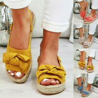 Womens Flatform Sandals Embellished Bow Tie Comfy Holiday Shoes Sizes 4.5-11