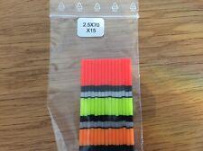 15 antennes creuses diamètre 2,5 mm multicolores  flotteurs pâte  longueur 70mm