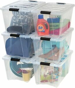 Clear Plastic Storage Bin Tote Organizing Container 53 Qt. - 6 Pack
