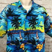 Royal Creations Mens Hawaiian Shirt XXL Blue Ocean Palm Trees Sunset Camp Hawaii