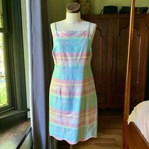 Vintage LILLY PULITZER Shift Plaid RARE Silk Dress SIZE 10