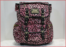 Juicy Couture HOT PINK & Black LEOPARD  SEQUIN Large Backpack - Purse Tote *NEW*
