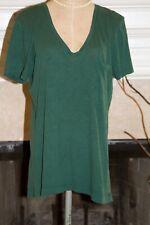 Madewell V-Neck One Pocket T Shirt Dark Green Women's Size M 100% Cotton Tee Top