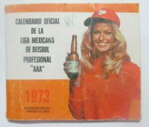 1973 BASEBALL MEXICAN LEAGUE pocket SCHEDULE calendar BEER FARRAH FAWCETT angel