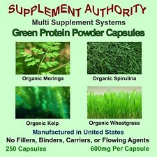 Organic Moringa Spirulina Kelp Wheatgrass - Green Protein Powder Capsules - NEW!