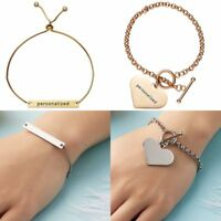 Love Heart Bracelet Stainless Steel Personalized Engraved Custom Letter Bangle
