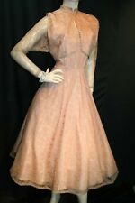 XS~S 2 Pc Vtg 40s 50s Dusty Peach Satin Brown Lace Dress Bolero Wedding Suit