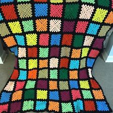 Vintage Granny Square Afghan Throw Black Multi-color Hand Crochet Blanket