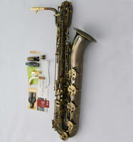 Antique Pro. TaiShan Baritone Saxophone Eb Sax Free Metal Mouth Engraving Bell