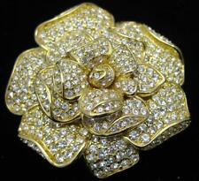 Huge Nolan Miller Crystal Gardenia Flower Pin Brooch Gamour Collection