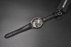ANN DEMEULEMEESTER XL LOUPE BLACK DIAMONDS SILVER LEATHER WATCH BRACELET ,6775 $