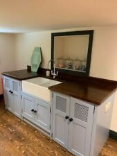 DOUBLE BUTLER SINK/APPLIANCE UNIT,PAINTED IN LULWORTH BLUE.