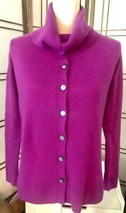 CLAUDIA NICHOLE Cashmere Cardigan Sz M ~ 10 Button Multi Cowl Neck Pink Euc