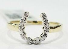 Sale Yellow Gold Diamond Horse Shoe Lucky U Shape Ring Band Right Hand Fashion