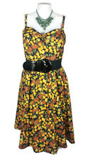 "CITY CHIC Dress - ""Zesty Fun"" Vintage 50s Style Lemon Print Black Stretch - M/18"