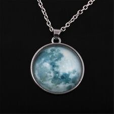 Fashion Glow in The Dark Moon Earth Pattern Round Pendant Necklace Jewelry Gift Gray Blue