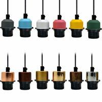 Vintage Plug In Pendant Lamp Light Fabric Flex Cable Set E27 Fitting Bulb UK