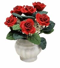 Miniature Dollhouse Red Roses Flowers in a Vase 1:12 Scale New
