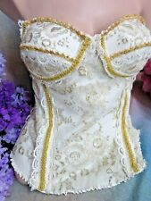 CAROL LEE Designer CORSET TOP Gallery of Wearable Art GOLD  embroidered net LACE