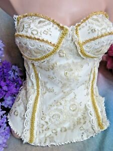 CAROLE LEE London CORSET TOP Gallery of Wearable Art GOLD embroidered net LACE