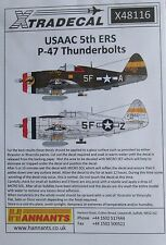 XTRADECAL 1/48 X48116 USAAF 5th ERS (Rescue) P-47 set di decalcomanie THUNDERBOLTS