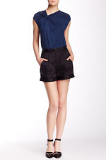 $240 NWT HELMUT LANG ROLLED HEM BLACK COTTON SHORTS sz 4