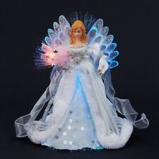 White and Silver Angel Fiber Optic Light Up Christmas Tree Topper