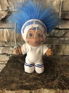 "Russ Troll Doll! 4 1/2"" Blue Hair Brown Eyes! Dressed As A Fencer!"