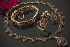 Schmuck Imposantes Granat Schmuckset Collier Ring Armband Ohrringe in 585er Gold