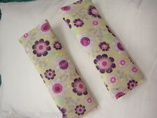 Baby Seat Belt Strap Covers Car Highchair Stroller-Purple Flowers -Gorgeous!